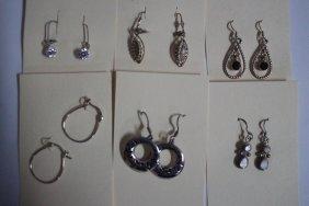 6 Pair Sterling Silver Earrings