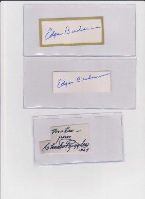 Edward Buchanan 1903-1979, 2 Autograph Signatures,