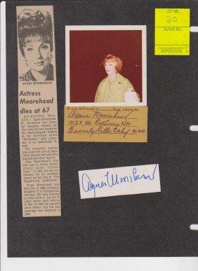 Agnes Morehead 1900-1974, 2 Autograph Signatures In