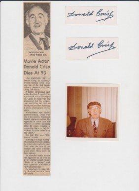 Donald Crisp 1882-1974 2 Autograph Signature, Pictu