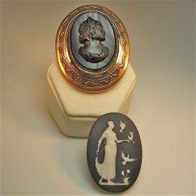 Black Onyx Cameo & Black Jasperware Small Oval Plaqu