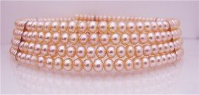 Four (4) Strand Pink Fresh Water Pearl Choker Neckla