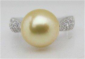 14K White Gold, Gold South Sea Pearl And Diamond Ri