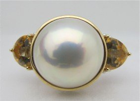 14K Yellow Gold And White Gold Mabe Pearl And Citri