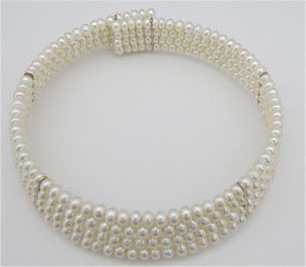 Four (4) Strand Fresh Water Pearl Choker Necklace