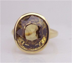 14K Yellow Gold Citrine Ring, Oval Cut Citrine=11.6