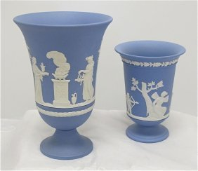 "Wedgwood Blue Jasperware 7 1/2"" Arcadian Vase And W"