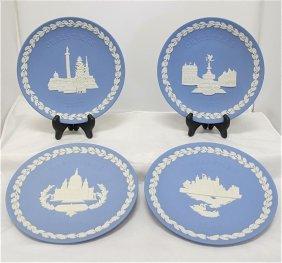 Wedgwood Blue Jasperware Christmas Plates: 1970 Tra