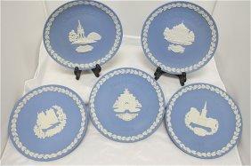 Wedgwood Blue Jasperware Christmas Plates: 1982 Lam