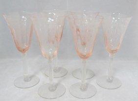 6 Pink Tiffin Depression Glass Wine Glasses