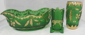 Green Delaware Glass Pattern Bud Vase, Toothpick Ho