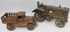 2 Antique Cast Iron Toy Tractors