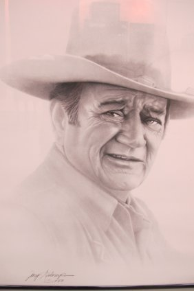 Framed Drawing Of John Wayne Signed By The Artist