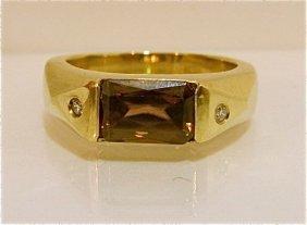 14K Yellow Gold Smokey Topaz & Diamond Ring, 5.90dw