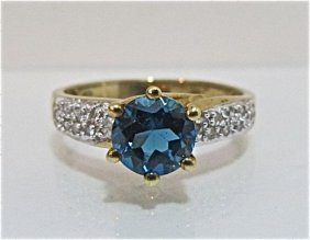 10K Yellow Gold Blue Topaz & Diamond Ring, 1.78dwt