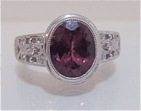 14K White Gold Pink Tourmaline & Diamond Ring
