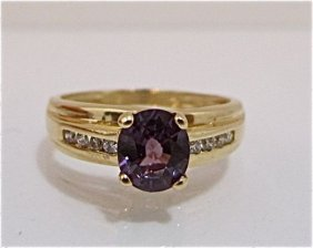 14K Yellow Gold Alexandrite & Diamond Ring