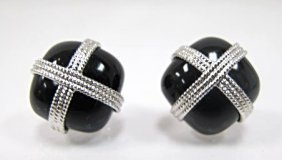 14k White Gold And Onyx Earrings