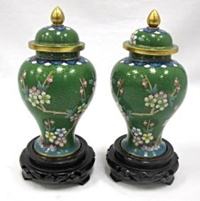 Pair Of Chinese Cloisonne Miniature Covered Urns, 6