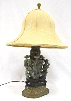 19th Century Chinese Carved Quartz Urn Mounted Lamp On