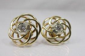 14k Yellow Gold & White Gold Twist Diamond Earrings Wit