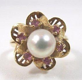 "14k Yellow Gold Pearl & Kunzite Ring, Size 6 1/2"","