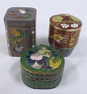 Three (3) Chinese Cloisonne Assorted Miniature Covered