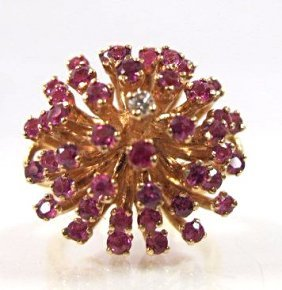Vintage 14k Ruby & Diamond Dome Ring, 6.52dwt, Size 6