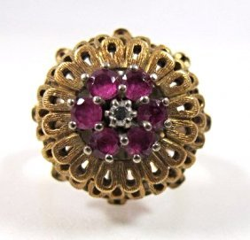 Vintage 18k Yellow Gold Ruby & Diamond Dome Ring,