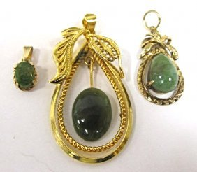 Collection Of 3 Jade Drop Pendants