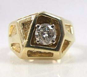 14k Yellow Gold Gents Diamond Ring