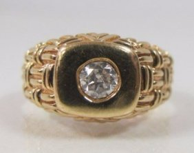 Gents 14k Yellow Gold Diamond Ring, Br=approx .25cts.,