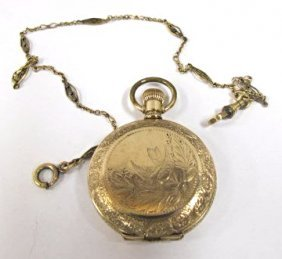 Hampden Champion Pocket Watch, 10k Gold Filled With Fob