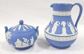 Wedgwood Blue Jasperware Sugar & Creamer