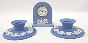 Wedgwood England Blue Jasperware Pair Of Candlesticks