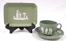 Wedgwood England Green Jasperware Cup & Saucer