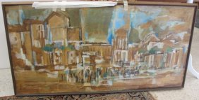 Abstract Building By Gustav Trois, Oil On Panel,