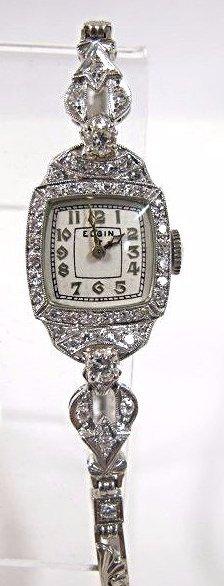 Ladies Elgin Platinum Case And 14k White Gold Dia Watch