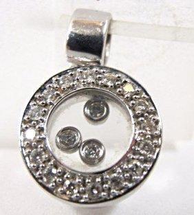 14k White Gold Floating Diamond Drop
