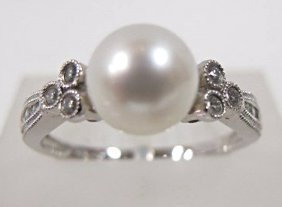 14k White Gold Pearl & Diamond Ring, Pearl= 7 1/2mm,
