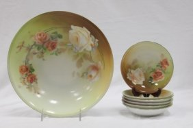 German R&s Hand Painted Bowl W/ 6 Berry Bowls
