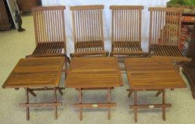 Four (4) Teak Folding Chairs And Three (3) Teak End