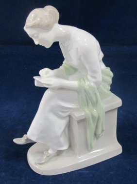 "Heubach Porcelain Figurine #8668, Lady Writing, 9"" Tall"
