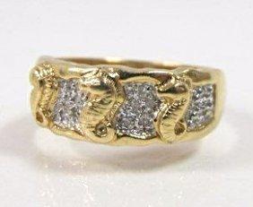 14k Yellow Gold Sea Horse Design Diamond Ring,