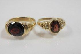 Two (2) 14k Yellow Gold Garnet Rings