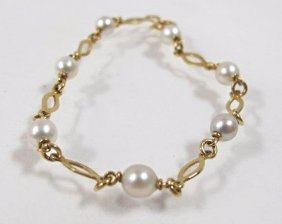 18k Yellow Gold Pearl Bracelet, Italy
