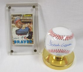 Hank Aaron Autographed Baseball With Coa And 1961 Hank