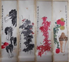 4 PIECE CHINESE PAINTINGS SIGNED QI BAISHI
