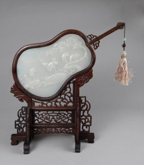 CHINESE JICHI WOOD AFGHAN JADE SCREEN