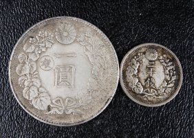 2 Japanese Silver Coins